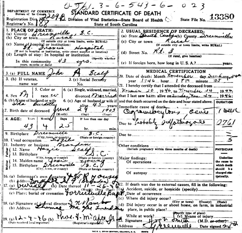 Miscellaneous scalf families eas link to death certificate for john anthony scalf aiddatafo Choice Image